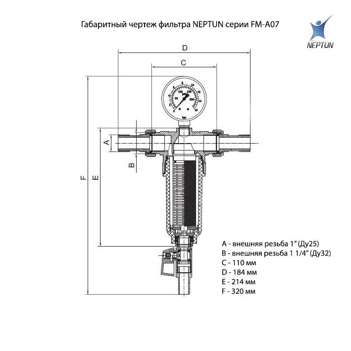 Фильтр для воды самопромывной тонкой механической очистки NEPTUN FM-A07 city
